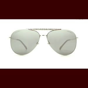New Chanel Silver Pilot Mirror Lens Sunglasses